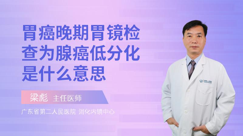 胃癌晚期胃镜检查为腺癌低分化是什么意思